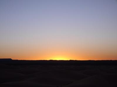 The sun creeping over the horizon